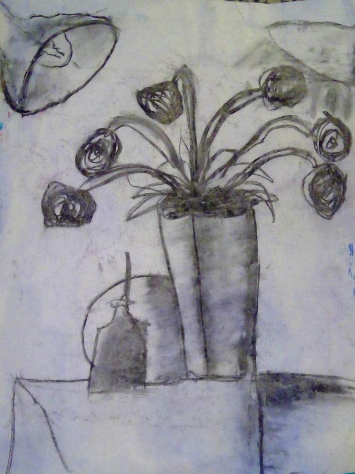 martha.charcoal vase.flowers