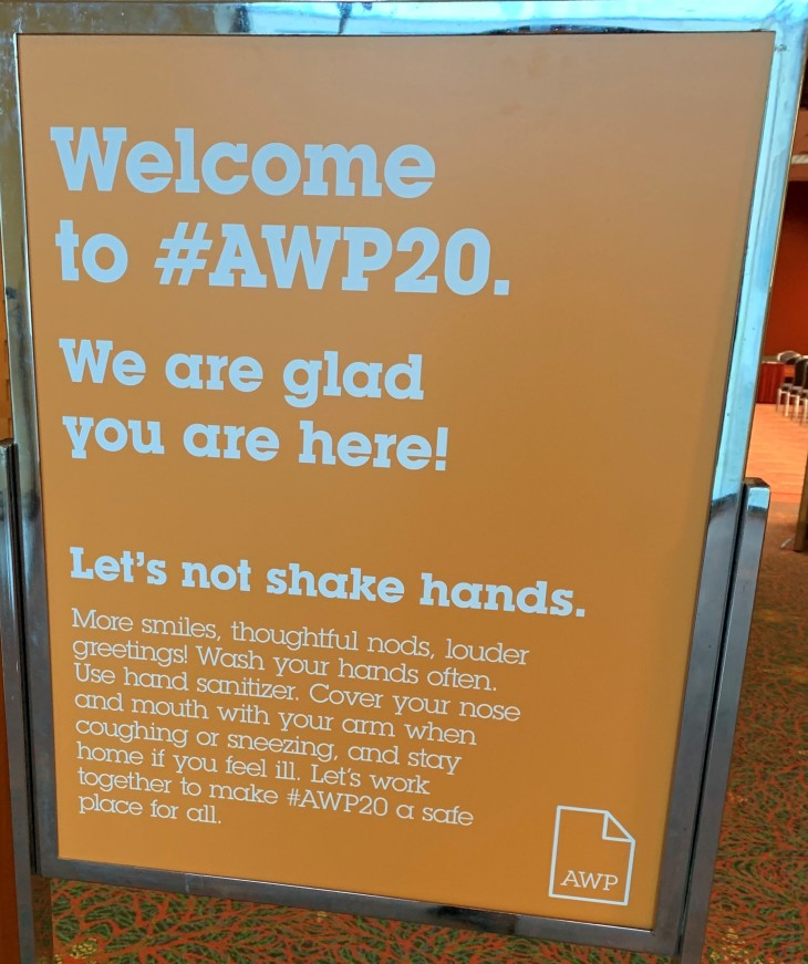 AWP 20 Sign. Let's not shake hands. Companik 3-16-2020