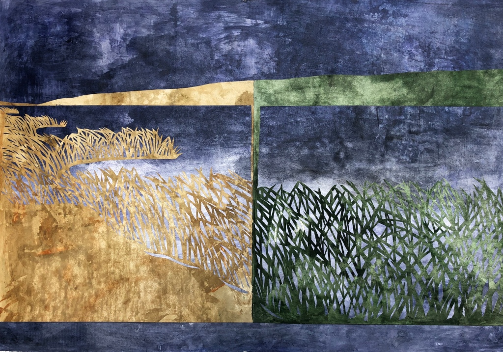 Collage of beige and green grass atop a mottled indigo and white backdrop reminiscent of an isolated coast.