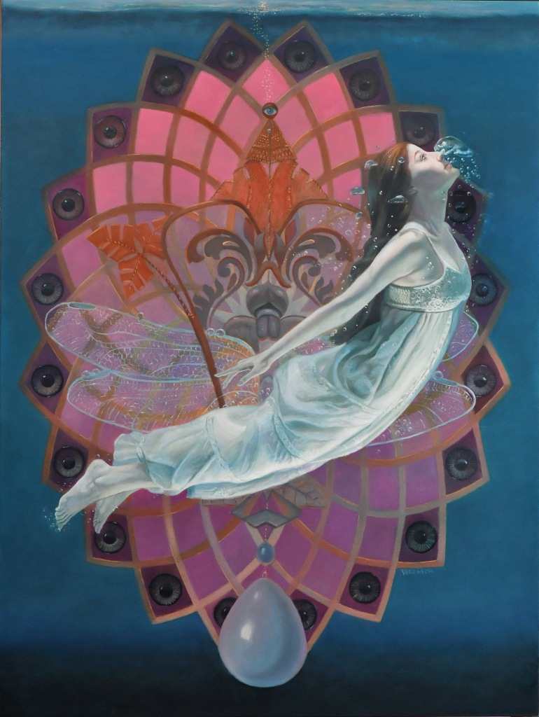 Oil painting of a floating woman in front of a large dragonfly and a pink geometric pattern with many eyes.