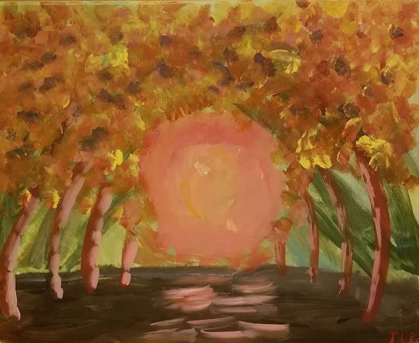 Sunset over forest floor, autumn trees.